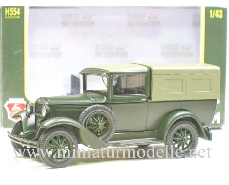 1:43 GAZ 4 pick-up with canvas top, mat green, military
