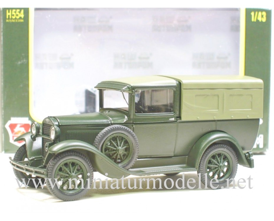 1:43 GAZ 4 pick-up with canvas top, mat green, military, H554, Nash Avtoprom by www.miniaturmodelle.net