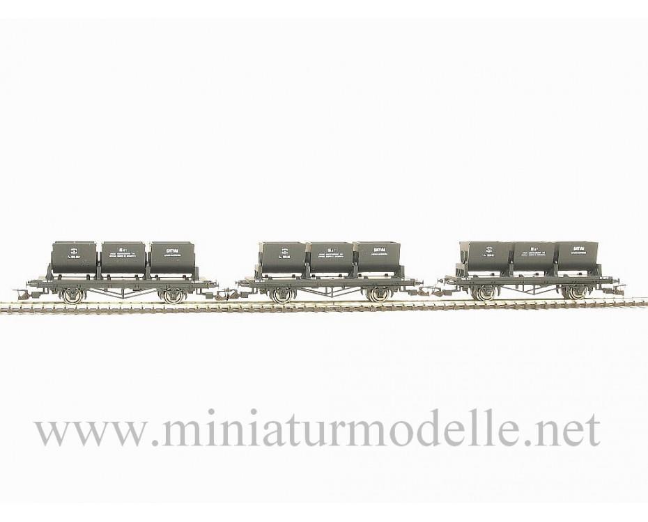 1:120 TT 3400 Muldenkippwagenset fur Bitumentransport der SZD mit verschiediedene Wagennummern, 3. Epoche