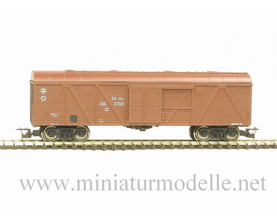 1:120 TT 3522 Reconstructed single door wood box car of the RZD livery, brown, era 5, 3522, Peresvet by www.miniaturmodelle.net