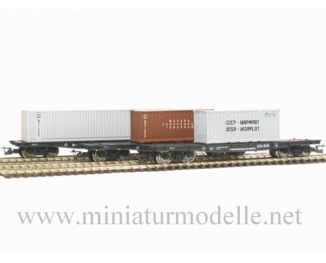 1:120 TT 3800 Containerwagenset der SZD mit containern, 4. Epoche