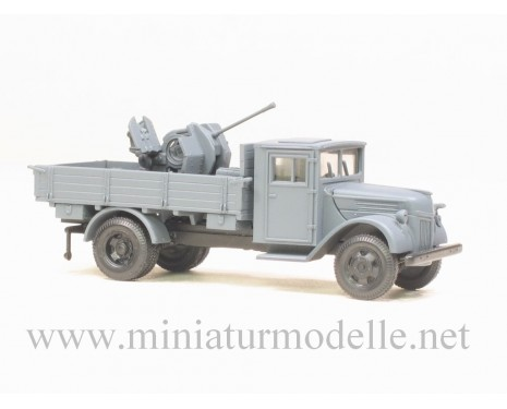 H0 1:87 Ford wood cab open side anti aircraft gun Flak 38mm military