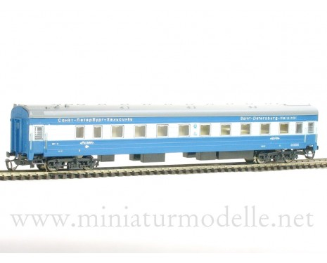 1:120 TT 2034-1 Long-distance sleeping car type Ammendorf of the RZD blue/ beige Repin St. Petersburg- Helsinki, era 5