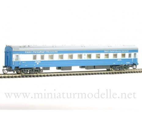1:120 TT 2034-1 Weitstrecken- Schlafwagen Typ Ammendorf blau/ beige, Repin, St. Petersburg- Helsinki, RZD, 5 Epoche