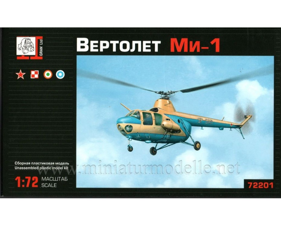 1:72 Mi 1 light utility helicopter, kit, 72201, Gran Ltd by www.miniaturmodelle.net
