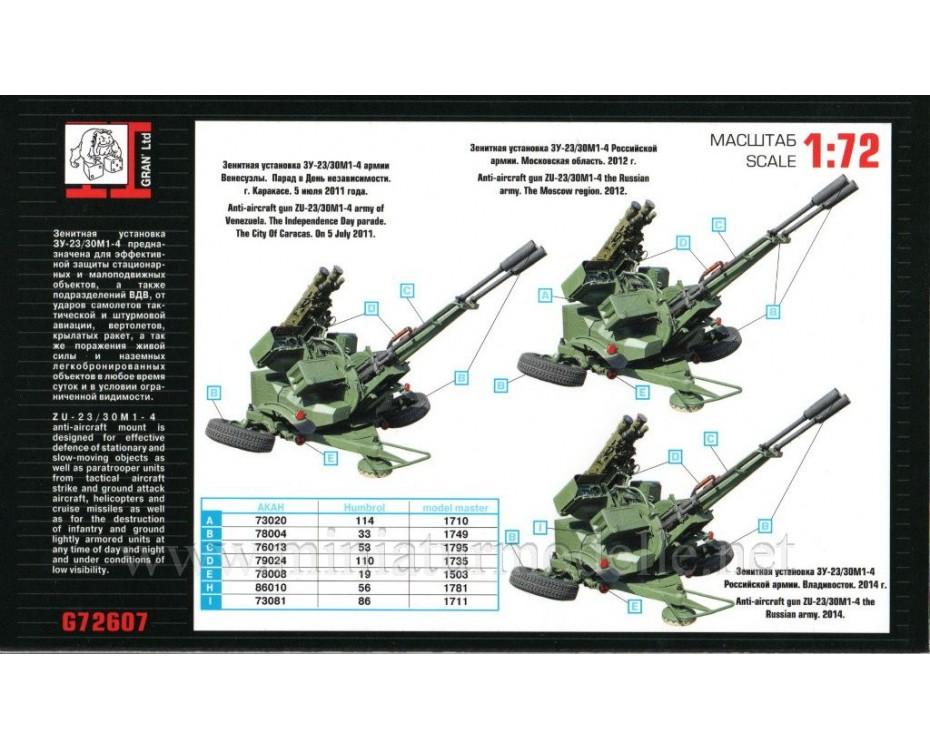 1:72 ZU 23 30M1-4 anti-aircraft twin-barreled gun, kit, G72607, Gran Ltd by www.miniaturmodelle.net