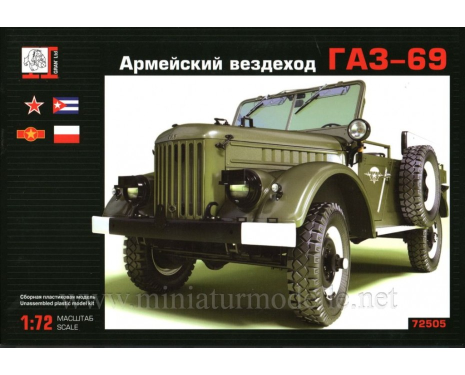 1:72 GAZ 69 light truck military, kit, 72505, Gran Ltd by www.miniaturmodelle.net