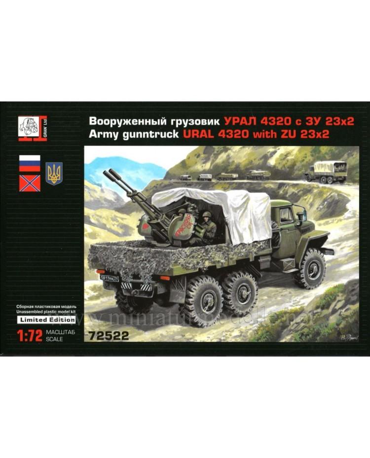 1:72 URAL 4320 load platform with ZU 23 anti-aircraft twin-barreled gun, kit