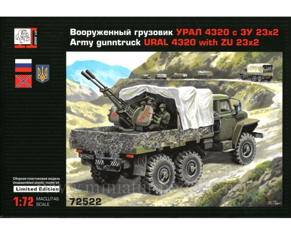 1:72 URAL 4320 load platform with ZU 23 anti-aircraft twin-barreled gun, kit, 72522, Gran Ltd by www.miniaturmodelle.net