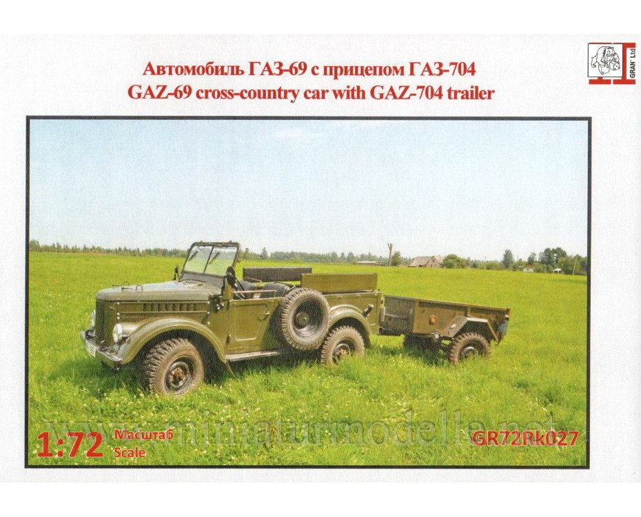 1:72 GAZ 69 light truck with GAZ 704 trailer military, kit, GR72Rk027, Gran Ltd by www.miniaturmodelle.net