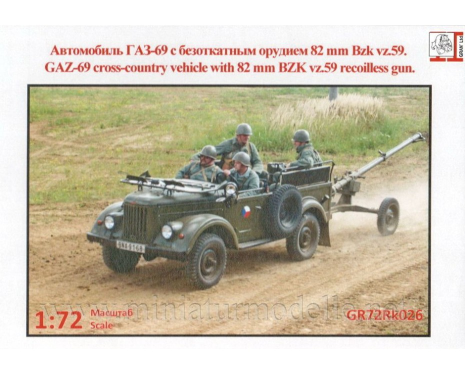 1:72 GAZ 69 light truck with BZK vz.59 recoilless gun military, kit, GR72Rk026, Gran Ltd by www.miniaturmodelle.net