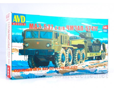 1:43 MAZ 537 tractor unit with ChMZAP 5247 G semitrailer military, kit
