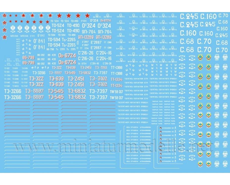 1:120 TT Abziehbilder für Russische Dampflokomotive, CCCP, SZD