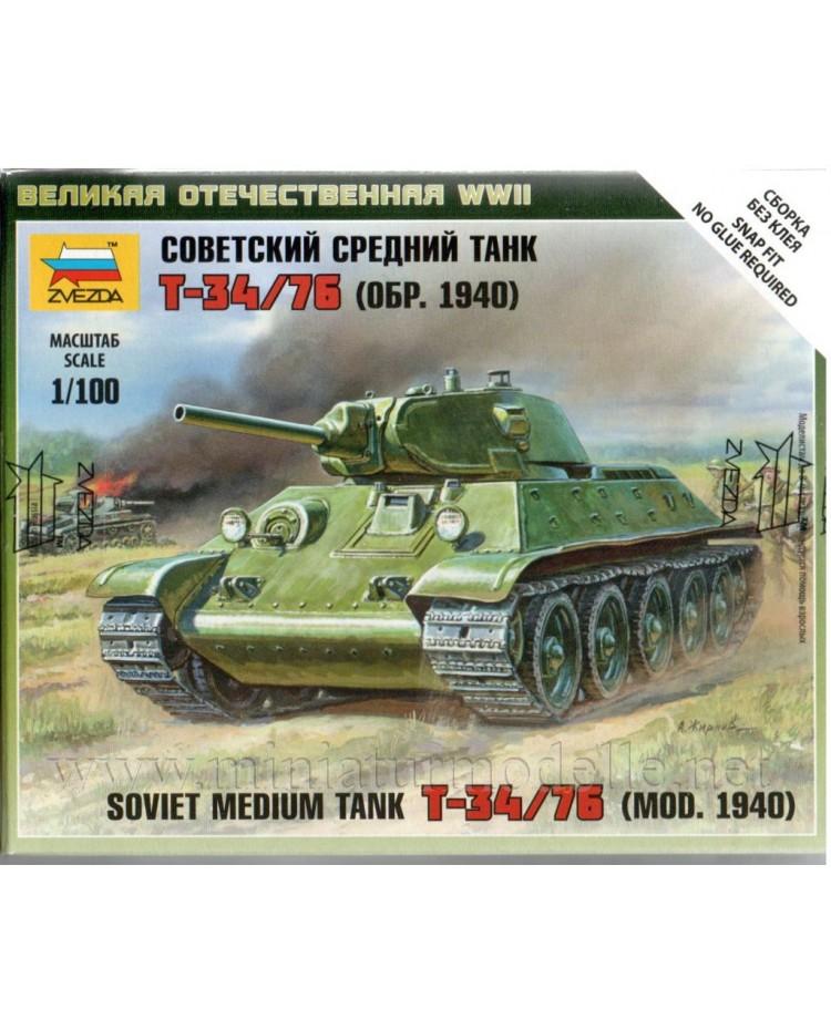 1:100 T 34/76 (Mod. 1940) sowjetischer mittlerer, Bausatz