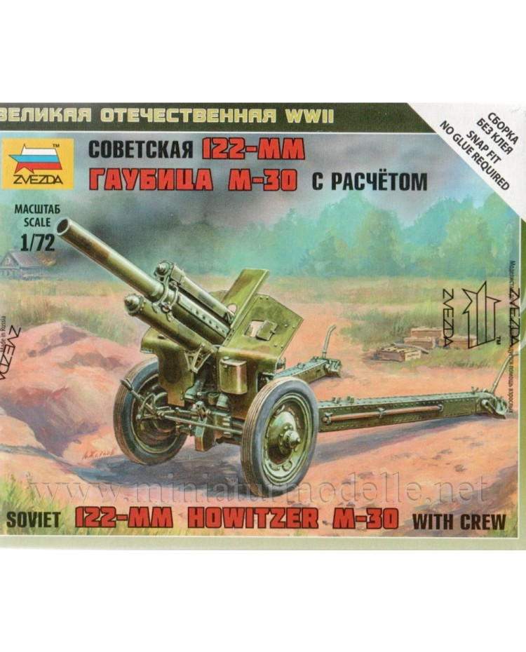 1:72 M-30 122mm sowjetischer Haubitze mit 2 Figuren, Bausatz