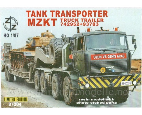 H0 1:87 MZKT 742952 Volat + heavy tank transporter MZKT 93783, small batches kit