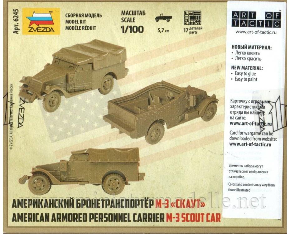 1:100 M 3 Scout car American armored personnel carrier, 6245, Zvezda by www.miniaturmodelle.net