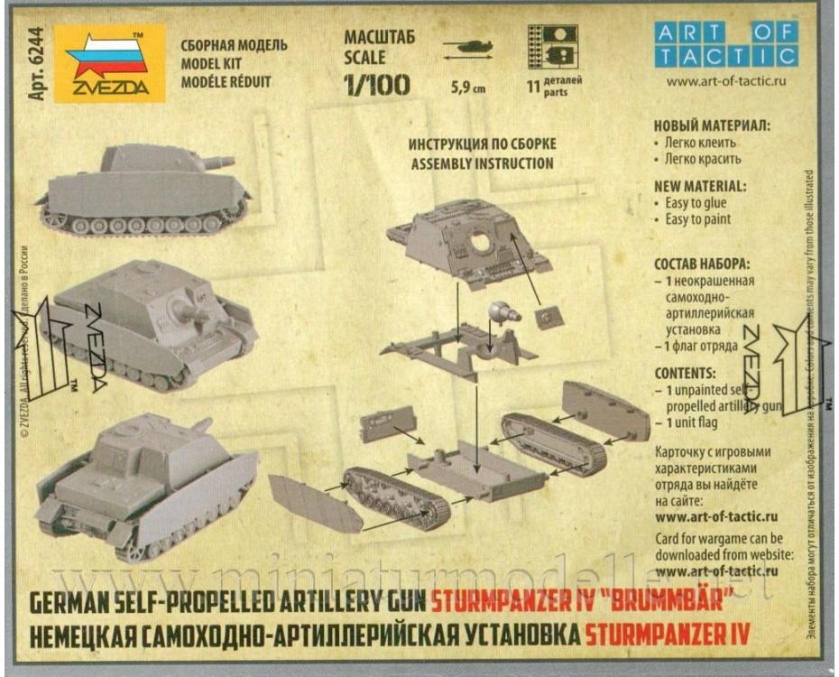 1:100 Sd.Kfz. 166 Brummbär German heavy assault gun, 6244, Zvezda by www.miniaturmodelle.net