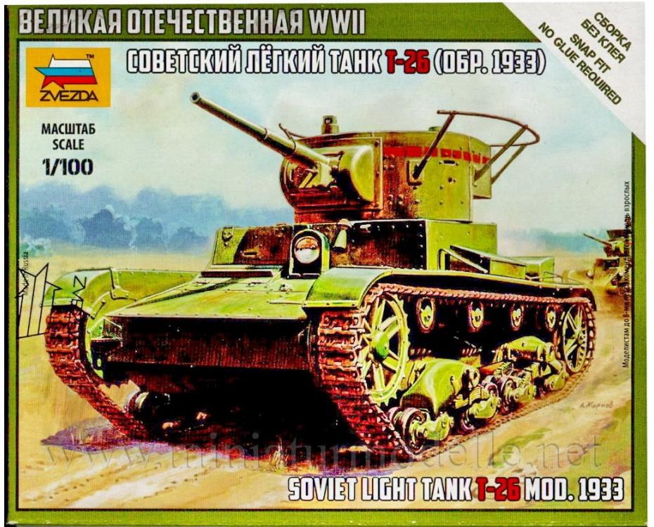 1:100 T 26 (1933) Soviet light infantry tank, 6246, Zvezda by www.miniaturmodelle.net