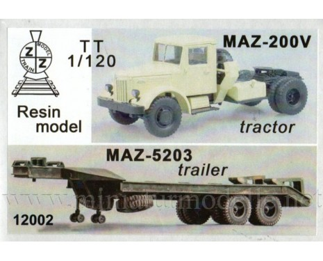 1:120 TT MAZ 200 V tractor unit with MAZ 5203 low loader semi, small batches kit