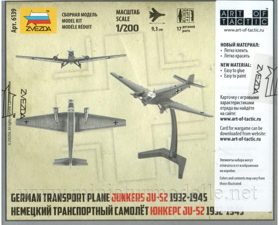 1:200 Junkers JU 52 german transport plane 1932 - 1945, Kit, 6139, Zvezda by www.miniaturmodelle.net
