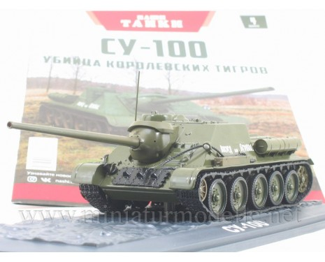 1:43 SU 100 Soviet tank destroyer with magazine #4