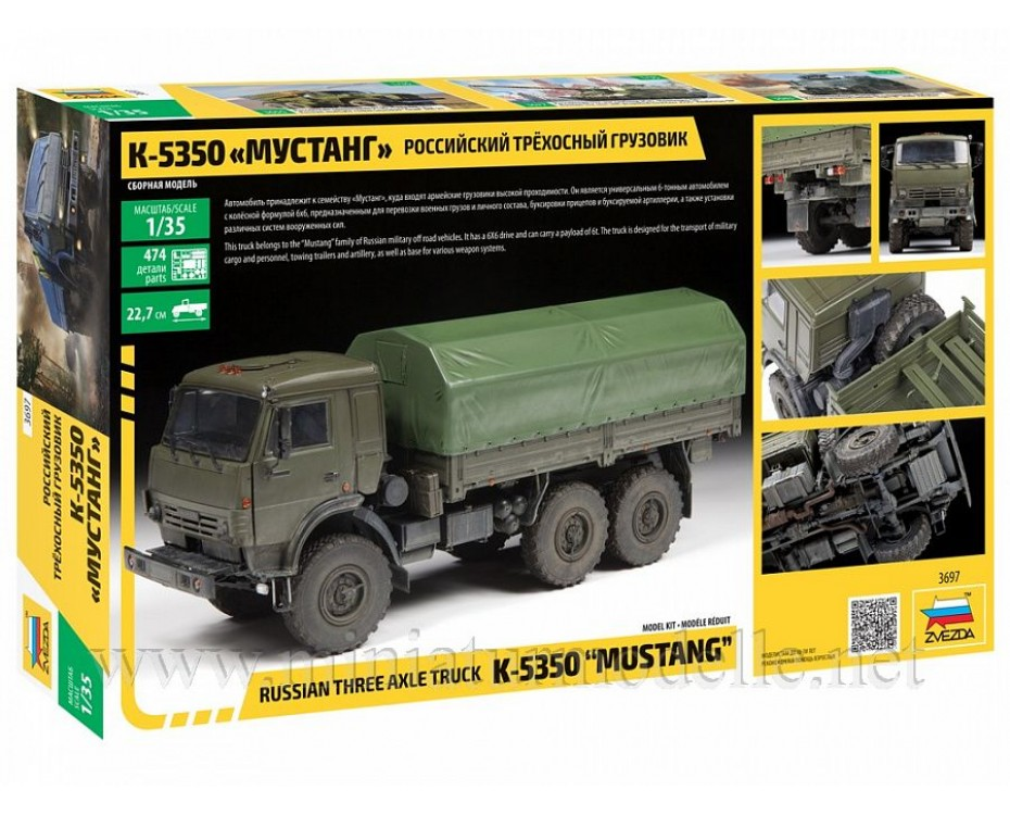 1:35 KAMAZ 5350 Mustang load platform canvascover, kit, 3697, Zvezda by www.miniaturmodelle.net