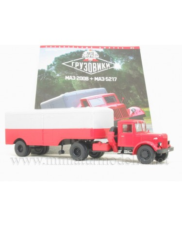 1:43 MAZ-200V semi trailer truck with trailer MAZ-5217 and magazine #3