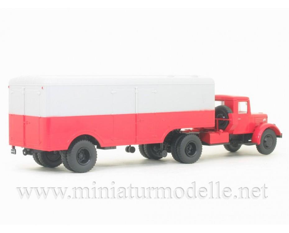 1:43 MAZ-200V semi trailer truck with trailer MAZ-5217 and magazine #3