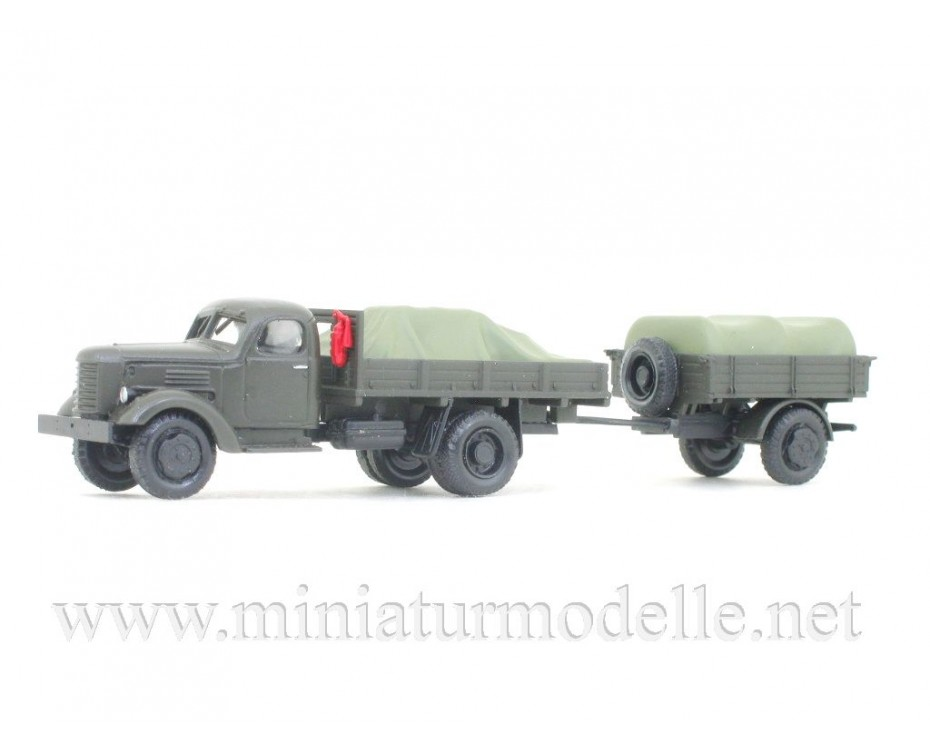 H0 1:87 ZIS 150 truck and trailer with load under the canvas, military