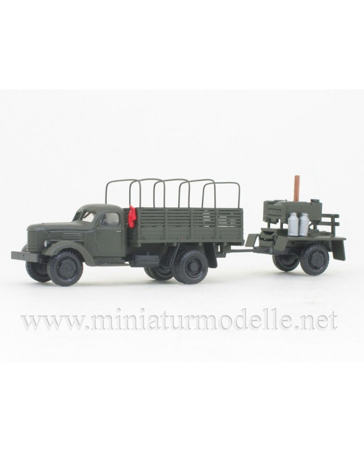 H0 1:87 ZIS 150 truck with hoop tarps and trailer with field kitchen, military