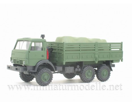 H0 1:87 KAMAZ 4310 truck with load under the canvas, military