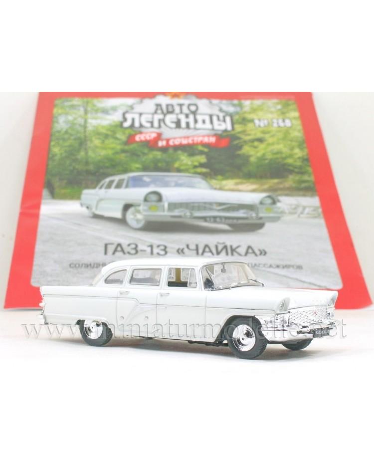 1:43 GAZ 13 Chaika Limousine white with magazine #268