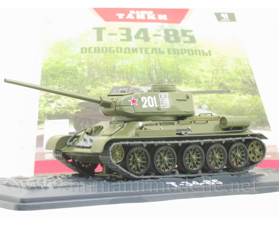 1:43 T 34-85 medium tank with magazine #41,  Modimio Collections by www.miniaturmodelle.net