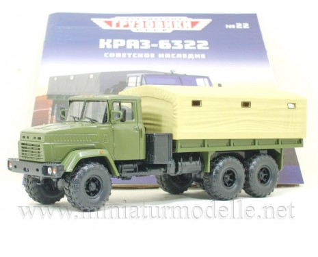 1:43 KRAZ 6322 truck with canvas top military with magazine #22