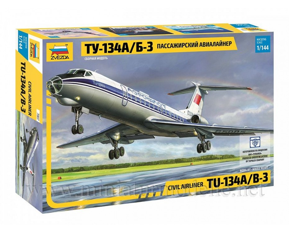 1:144 TU 134 A/B-3 civil airliner, kit, 7007, Zvezda by www.miniaturmodelle.net