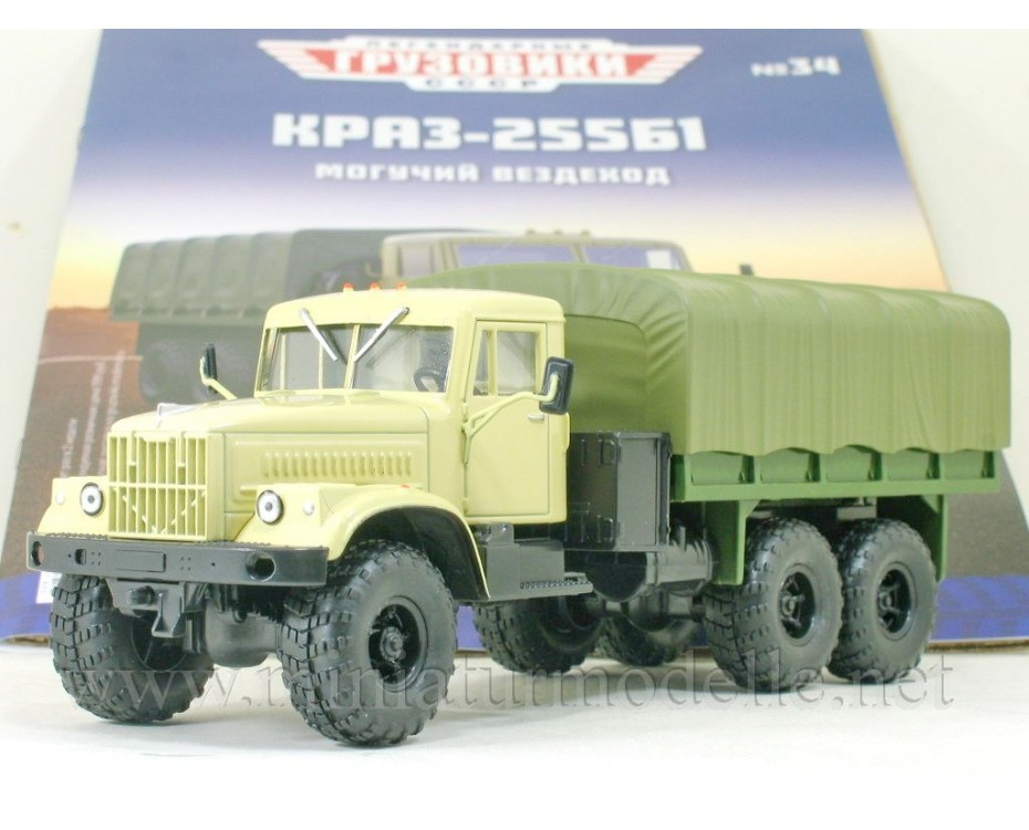 1:43 KRAZ 255 B1 truck with canvas top military with magazine #34,  Modimio Collections by www.miniaturmodelle.net