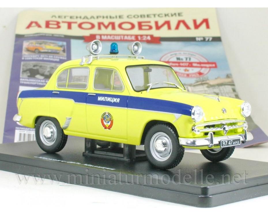 1:24 Moskvitch 407 Police with magazine #77,  Hachette by www.miniaturmodelle.net