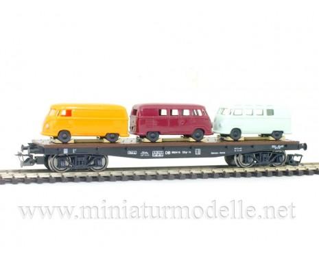 1:120 TT 3659 Flat car SSsyl 19 with 3 pcs VW T1 bus of the DB livery, era 3