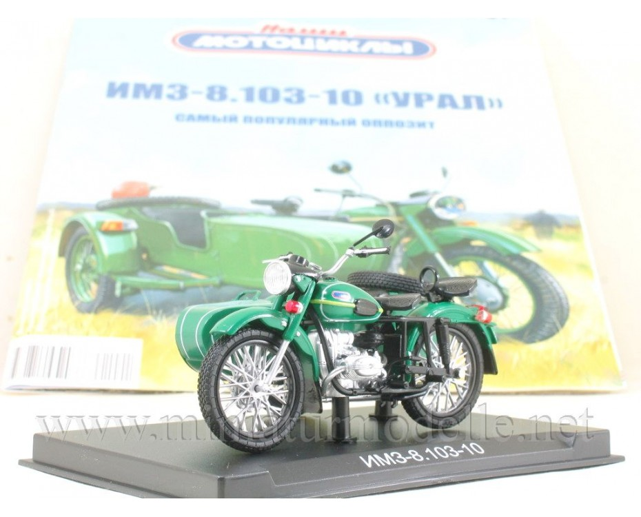 1:24 IMZ 8.103 10 Ural Motorcycle with sidecar and magazine #1,  Modimio Collections by www.miniaturmodelle.net