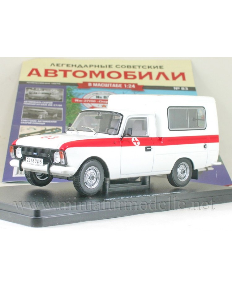 1:24 Moskvitch Izh 27156 Ambulance with magazine #83