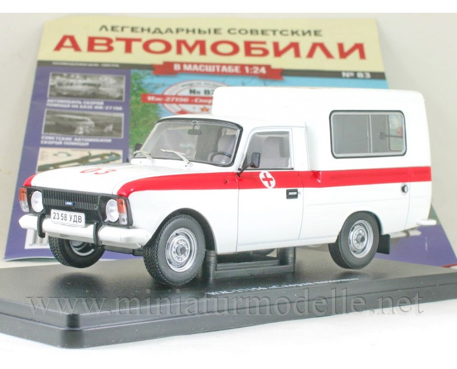 1:24 Moskvitch Izh 27156 Ambulance with magazine #83,  Hachette by www.miniaturmodelle.net
