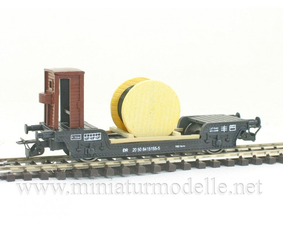 1:120 TT 3311 Low-loader wagon of the DR with cable roll, type St., black, era 4, 3311, Peresvet by www.miniaturmodelle.net