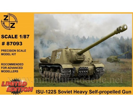H0 1:87 ISU-122S Soviet heavy self propelled gun, military, small batches model