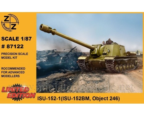 H0 1:87 ISU-152-1 Soviet heavy self propelled gun (ISU-152BM Object 246), military, small batches model