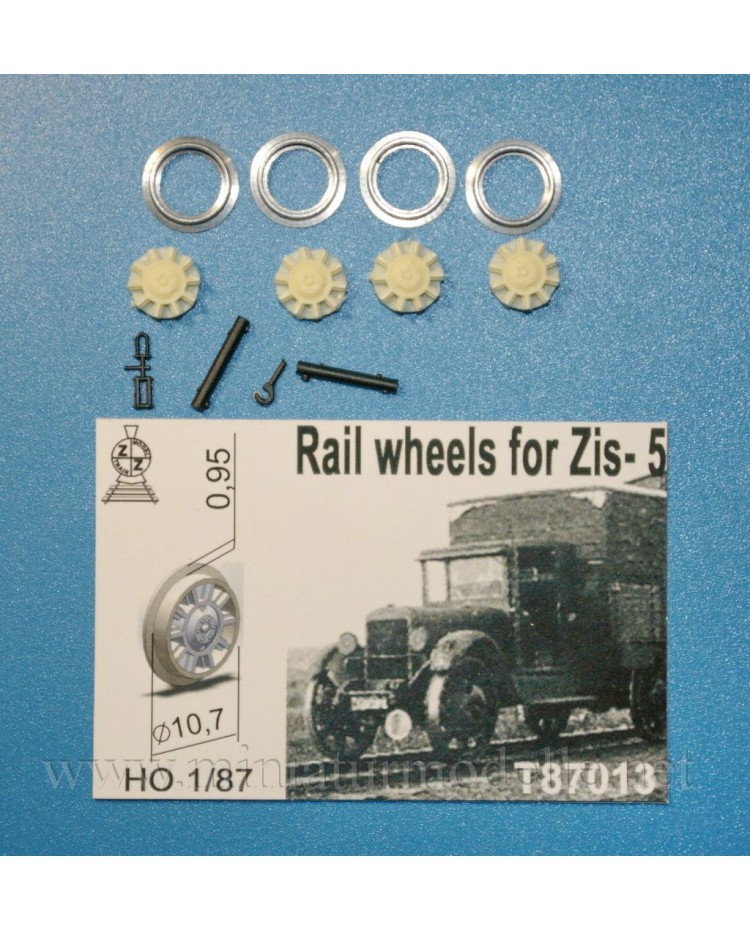 1:87 H0 Rail wheels D 10,7 mm for ZIS 5 truck, small batches model