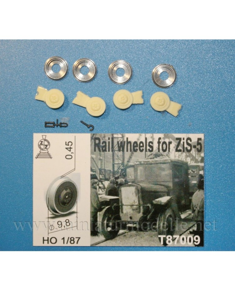 1:87 H0 Rail wheels D 9,8 mm for ZIS 5 truck, small batches model