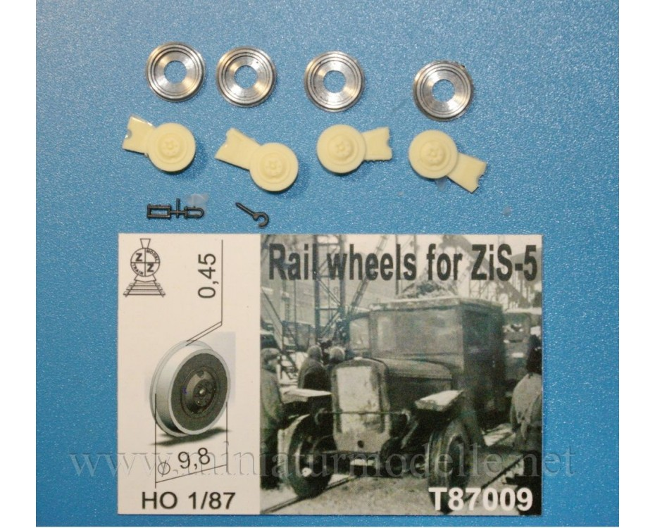 1:87 H0 Rail wheels D 9,8 mm for ZIS 5 truck, small batches model, T87009, Z&Z Exclusive Modell by www.miniaturmodelle.net