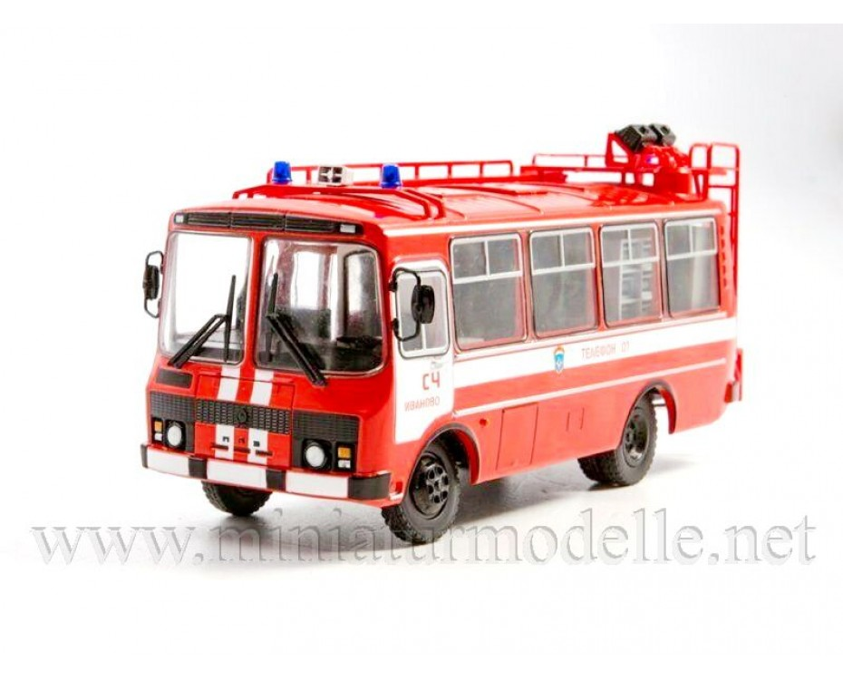 1:43 PAZ 3205 Fire bus  AG 12 with magazine #2, special issue,  Modimio Collections by www.miniaturmodelle.net