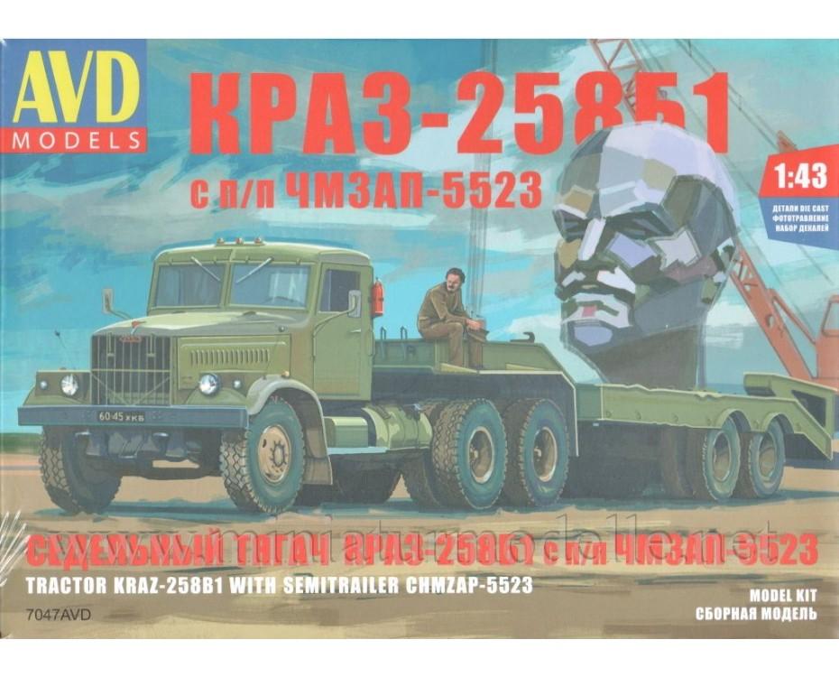 1:43 KRAZ 258 Zugmaschine mit Tiefladerauflieger ChMZAP 5523 Militär